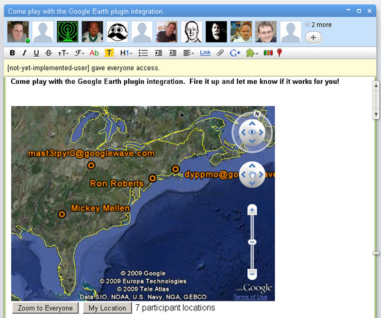 Google Earth plug-in in a Google Wave