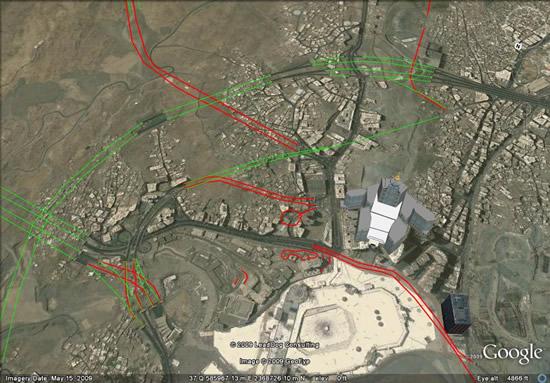Mecca tunnels in Google Earth