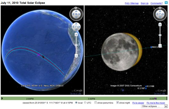 Watch this weekend's solar eclipse in Google Earth | My Google Map