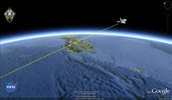 tracking the space shuttle in google earth google earth blog