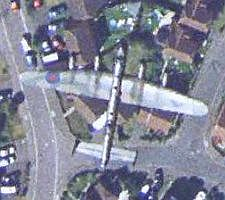 Bomber in England in Google Earth