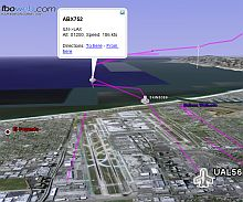 Flight tracker Flying in Google Earth screenshot