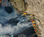Incendios de California de fotos de la NASA para Google Earth