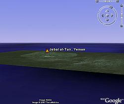 Jabal al Tair Volcano eruption in Google Earth