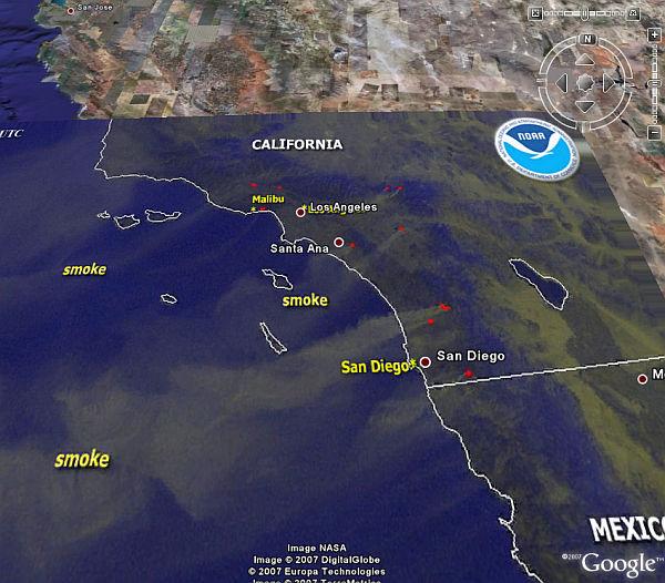 San Diego Fires Update >> San Diego, California Fires - See Smoke in Google Earth - Google Earth Blog