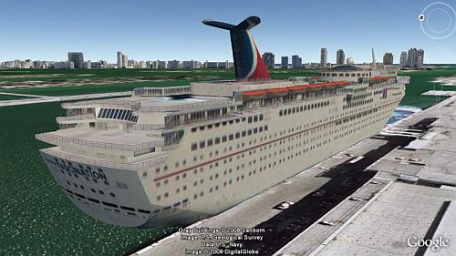 Crucero en Capa Edificios 3D de Google Earth