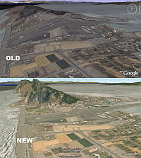 Comparación de terrenos de Gibraltar en Google Earth