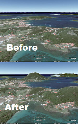Les Saintes, Guadeloupe with and without 3D Terrain in Google Earth