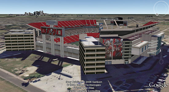 Superbowl XLIII Tampa Bay stadium in Google Earth