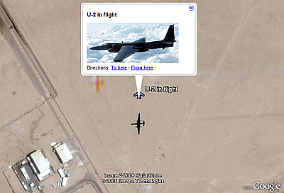 U2 in Flight in Google Earth