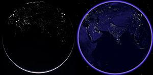 La Tierra de Noche por Rosetta en Google Earth