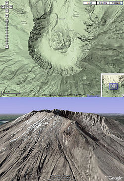 Mount Saint Helens comparison Google Maps and Google Earth