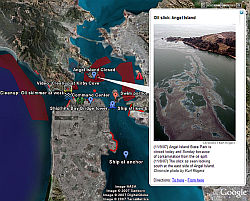 Derrame de Petróleo de San Francisco en Google Earth