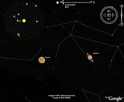 Planets and Moon in Google Earth Sky