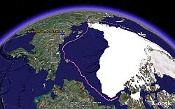Arctic Sea Ice melting in Google Earth