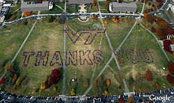 Virginia Tech Dice Gracias en Google Earth