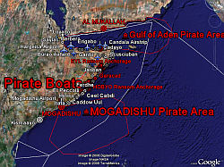 Somalia Piracy in Google Earth