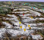 Melting and growing glaciers in Google Earth