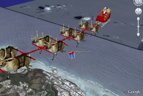 Santa making deliveries in Google Earth