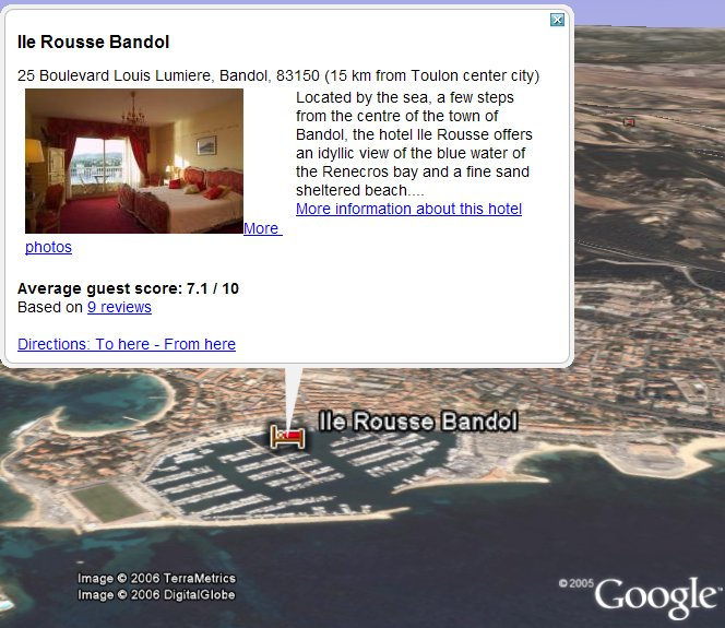 Bookings in Google Earth