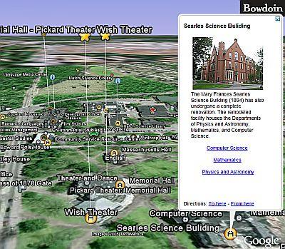 bowdoin college campus map Bowdoin College Campus A Google Earth Map Google Earth Blog bowdoin college campus map