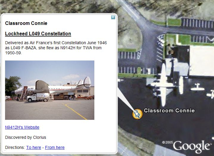 Lockheed Constellations 'Connie' in Google Earth