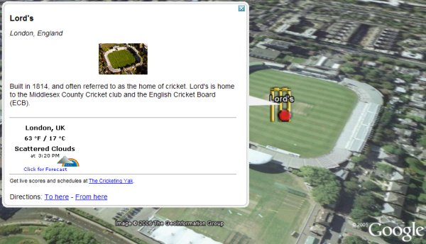 International Cricket Venues in Google Earth