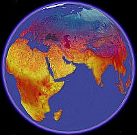 NASA Day Land Temperatures in Google Earth