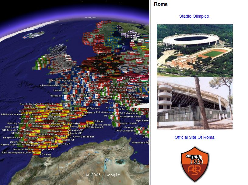 Football Stadiums in Google Earth