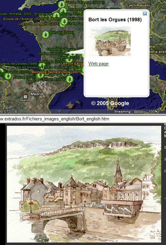 French Water Color Art in Google Earth