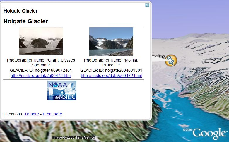 Glacial melt in Google Earth