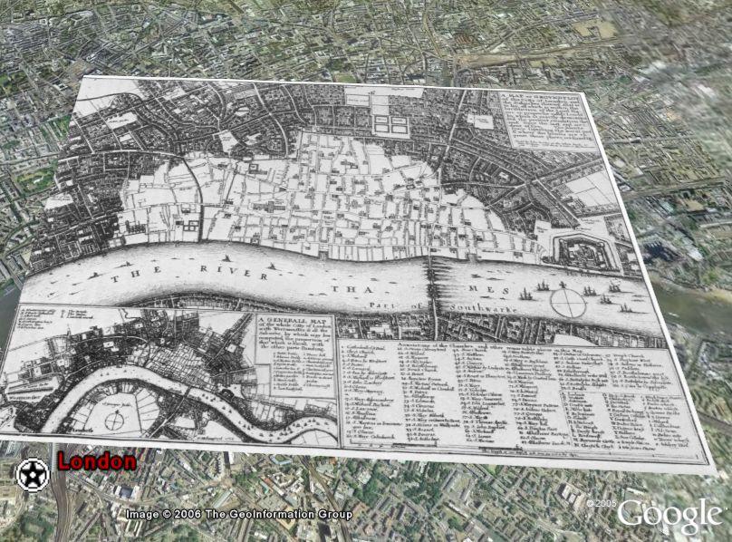 London 1666 Map in Google Earth