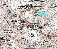 Longs Peak Topographic map in Google Earth