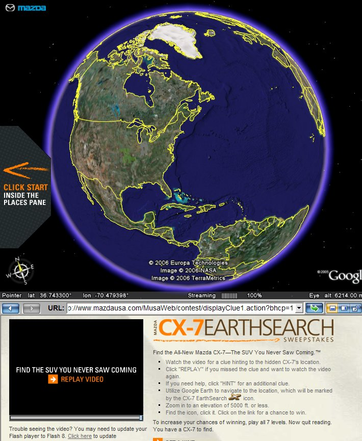 Mazda Sweepstakes in Google Earth