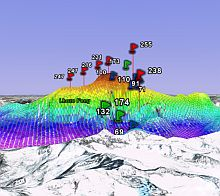 Mount Everest GIS elevation in Google Earth