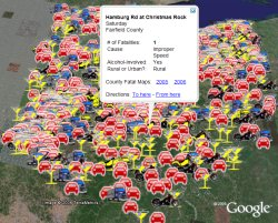Ohio Traffic Fatalities 2005 in Google Earth