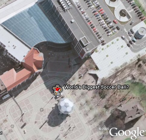 Worlds largest soccer ball in Google Earth