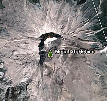 Mount St. Helens in Google Earth