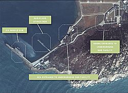China Underground Nuclear Sub base  in Google Earth