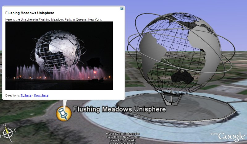 Unisphere in Google Earth