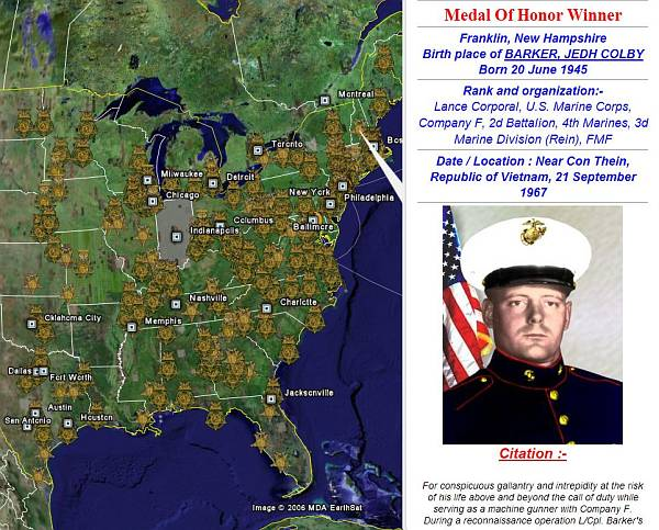 Vietnam Medal of Honor Winners in Google Earth