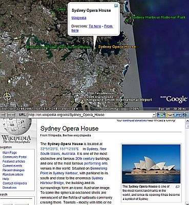 Wikipedia in Google Earth