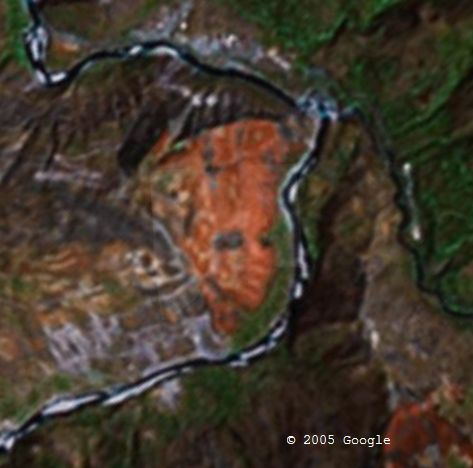 Woman in Andes in Google Earth