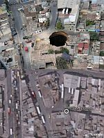 Guatemala City Giant sinkhole  in Google Earth