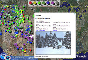 NOAA Snow gage reports in Google Earth