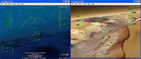 Buen Consejo para Google Earth 5: Simulador de Vuelo en Océanos y Marte