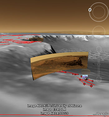 Google Mars rover tracks and photos.