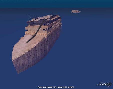 Titanic in 3D in Google Earth