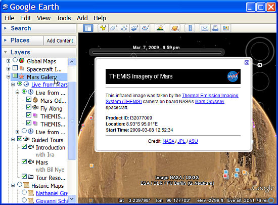 New Mars update for Google Earth 5