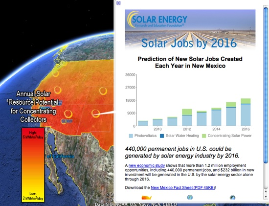 Solar Jobs Map in Google Earth